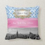 NY City Skyline BW D4 Damask Pillow