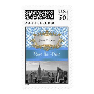 NY City Skyline BW D4 Damask Save the Date Stamp