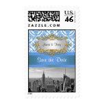 NY City Skyline BW D4 Damask Save the Date Stamp