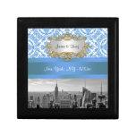 NY City Skyline BW D4 Damask Trinket Box Gift Box