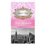 NY City Skyline BW D4P Pink Damask Enclosure Business Cards