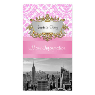 NY City Skyline BW D4P Pink Damask Enclosure Double-Sided Standard Business Cards (Pack Of 100)