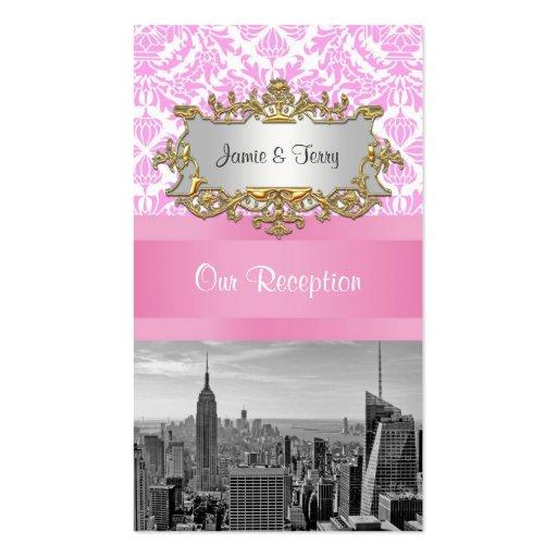 NY City Skyline BW D4P Pink Damask Escort Cards Business Card Templates