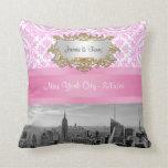 NY City Skyline BW D4P Pink Damask Pillow
