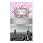 NY City Skyline BW D4P Pink White Damask Business Card