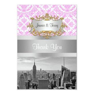 NY City Skyline BW D4P Pink White Damask Card