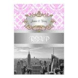 NY City Skyline BW D4P Pink White Damask Invitations
