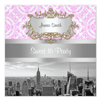 NY City Skyline BW D4P Pink White Damask 5.25x5.25 Square Paper Invitation Card