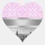 NY City Skyline BW D4P Pink White Damask Heart Stickers
