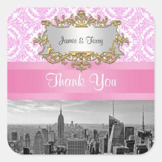 NY City Skyline BW D4P Pink White Damask Thank You Square Sticker