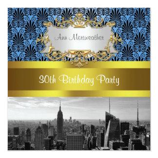 NY City Skyline BW Deco Damask Birthday Invite