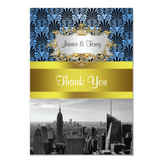 NY City Skyline BW Deco Damask Thank You Card