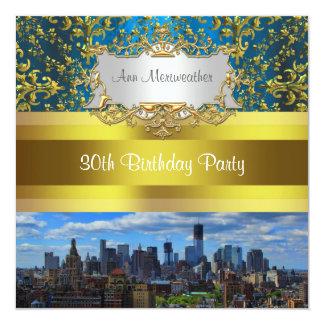 NY City Skyline BW W1 Damask Birthday Party Invite