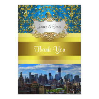 NY City Skyline BW W1 Damask Thank You Card