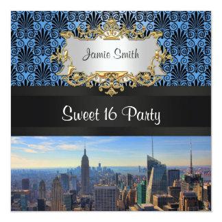 NY City Skyline C Deco Damask Sweet 16 Invite