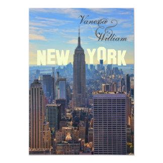 NY City Skyline Empire State Building, WTC 5x7 Paper Invitation Card