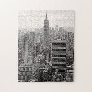 NY City Skyline Empire State Building, WTC BW Jigsaw Puzzle