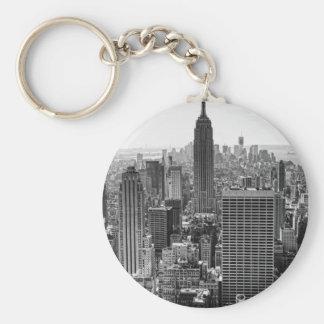 NY City Skyline Empire State Building, WTC BW Keychain