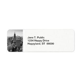 NY City Skyline Empire State Building, WTC BW Custom Return Address Label