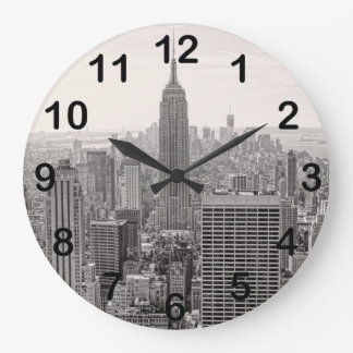 NY City Skyline Empire State Building, WTC BW Large Clock