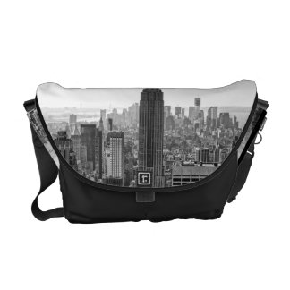 NY City Skyline Empire State Building, WTC BW Courier Bag