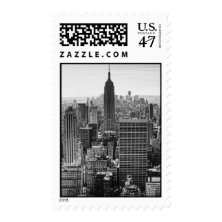 NY City Skyline Empire State Building, WTC BW Postage