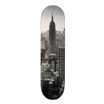 NY City Skyline Empire State Building, WTC BW Skateboard Deck