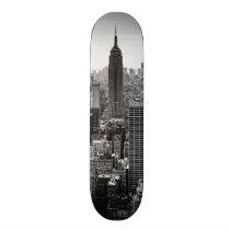 NY City Skyline Empire State Building, WTC BW Skateboard Deck