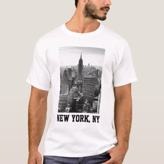 NY City Skyline Empire State Building, WTC BW T-Shirt