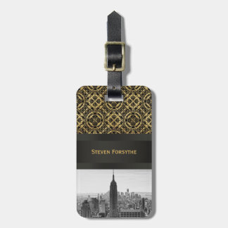 NY City Skyline Empire State Building, WTC BW Tag For Luggage