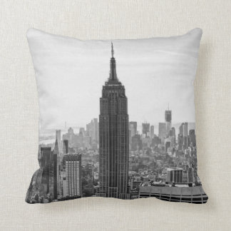 NY City Skyline Empire State Building, WTC BW Throw Pillow