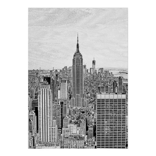 NY City Skyline Empire State Building, WTC Etch BW Poster