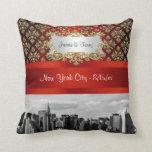 NY City Skyline ER BW Damask - Pillow