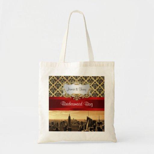 NY City Skyline Sepia B4 Damask Canvas Bag Budget Tote Bag