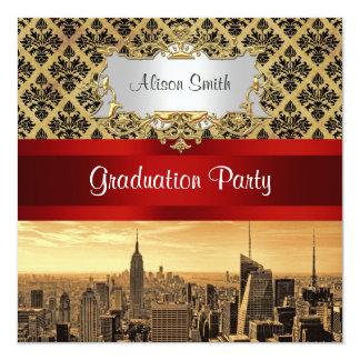 NY City Skyline Sepia B4 Damask Graduation Invite