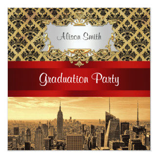 NY City Skyline Sepia B4 Damask Graduation Invite