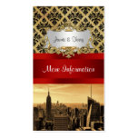 NY City Skyline Sepia B4 Damask Info Card Business Card Templates