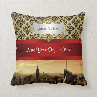 NY City Skyline Sepia B4 Damask Pillow
