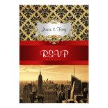 NY City Skyline Sepia B4 Damask RSVP Custom Announcement