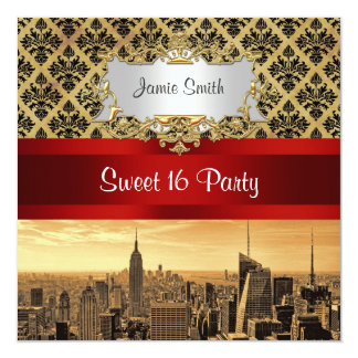 NY City Skyline Sepia B4 Damask Sweet 16 Invite
