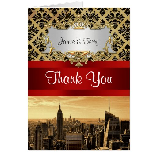 NY City Skyline Sepia B4 Damask Thank You Greeting Card