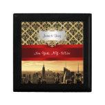 NY City Skyline Sepia B4 Damask Trinket Box