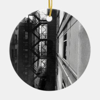 NY Fire Escapes Ceramic Ornament