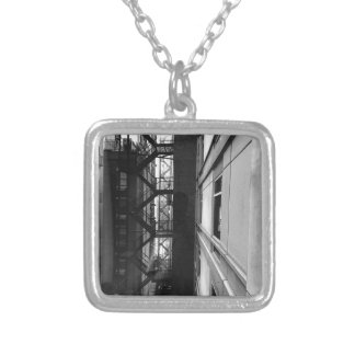 NY Fire Escapes Silver Plated Necklace