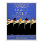 NY Foreign Trade Zone 1937 WPA Poster