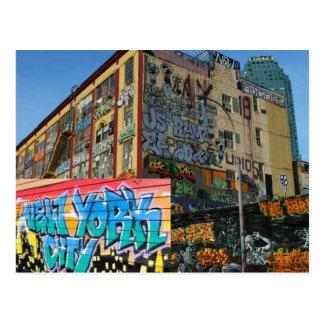 ny graffiti building tagged postcard