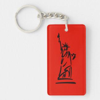 NY Lady Liberty Red Keychain