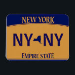 "NY License Plate Magnet<br><div class=""desc"">Squat New York State License Plate Magnet.  Add your own name or initials,  move the state image or remove altogether!  Classic Yellow and Gold. Collect all 50!</div>"