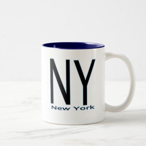 NY New York blue outline Two-Tone Coffee Mug