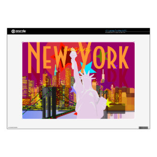 "NY New York City Skyline Statue of Liberty Decal For 15"" Laptop"